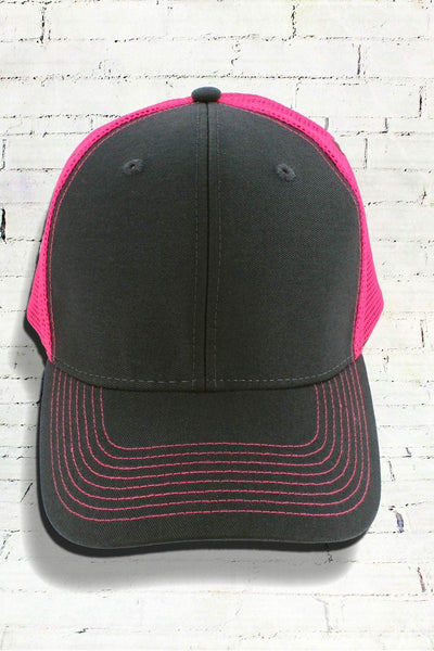 Dark Gray and Neon Pink Contrast Mesh Trucker Cap