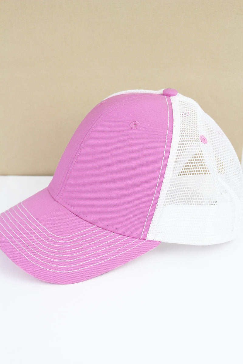 SALE! Pink and White Contrast Mesh Trucker Cap