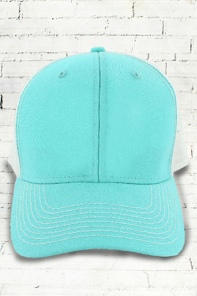 Surf and White Contrast Mesh Trucker Cap