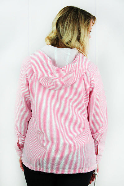 Charles River Women's Pink Seersucker Bar Harbor Pullover (Wholesale Pricing N/A)