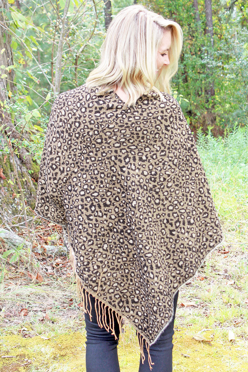 Falling For Leopard Knit Poncho, Brown