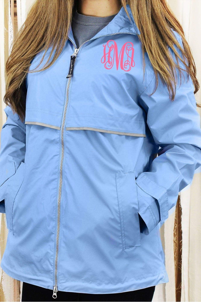 White Monogrammed Personalized Half Zip Rain Jacket Pullover by Charles River Apparel Nanz8