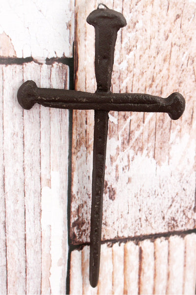 7.75 x 4.25 Cross of Nails Cast Iron Wall Hanging