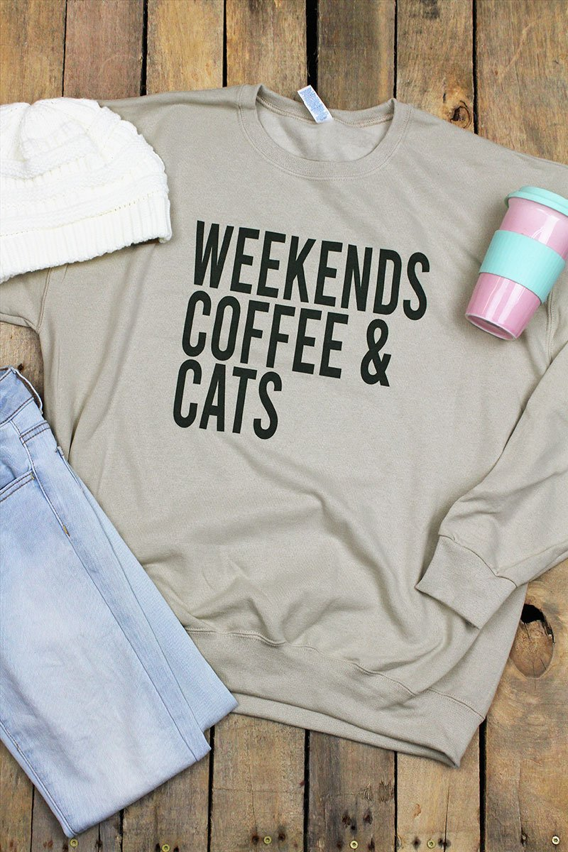 Weekends Coffee Cats Unisex NuBlend Crew Sweatshirt