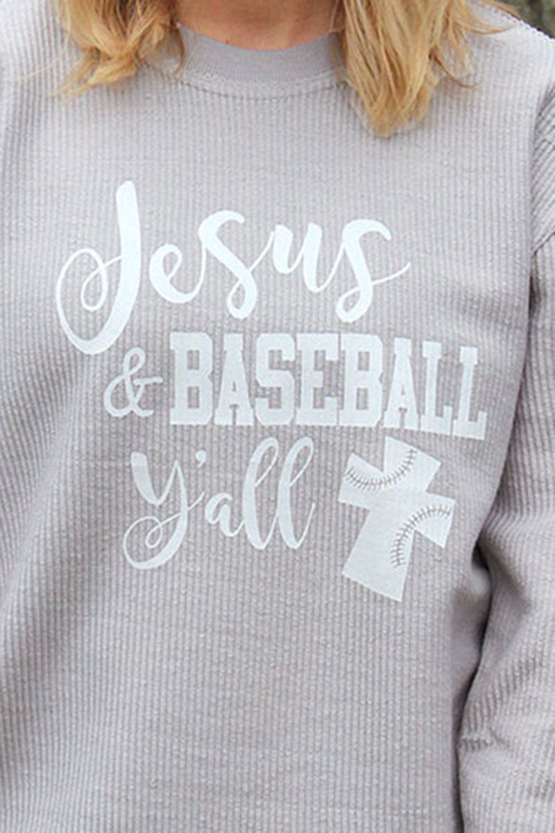Jesus & Baseball Y'all Pennant Women's Washed Cord Crew