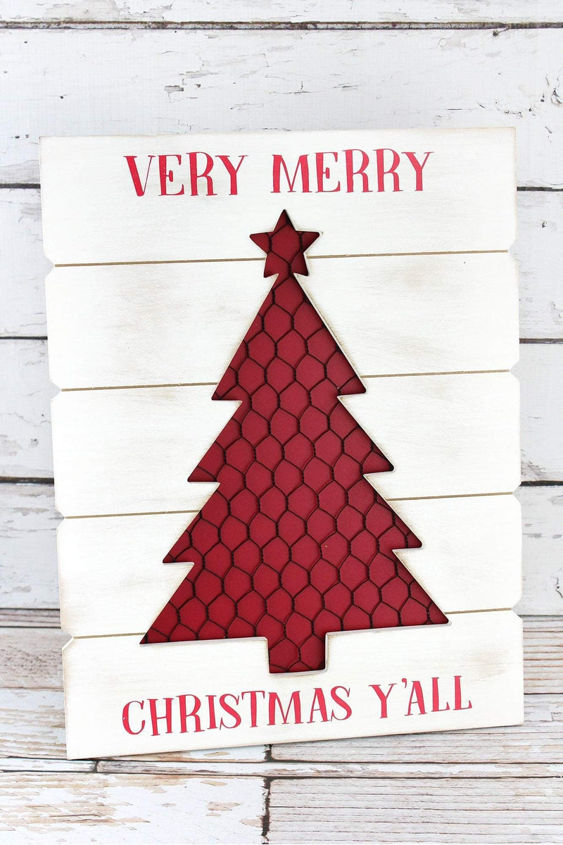 17.5 x 13.5 'Very Merry Christmas Y'all' Cut-Out Tree Sign