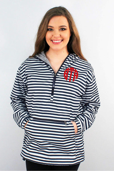 Charles River Navy and White Stripe Women's Chatham Anorak Pullover #5809P *Customizable! (Wholesale Pricing N/A) (PLEASE ALLOW 3-5 BUSINESS DAYS. EXPEDITED SHIPPING N/A)
