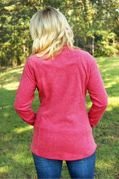 Charles River Women's Bayview Fleece Pullover, Red Heather *Personalize It! (Wholesale Pricing N/A)