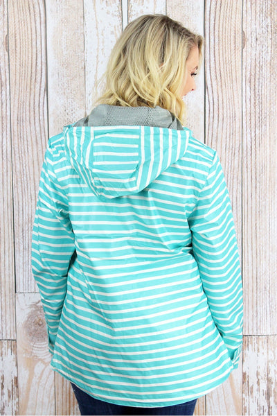 Charles River Women's New Englander Aqua Striped Rain Jacket *Customizable! (Wholesale Pricing N/A)