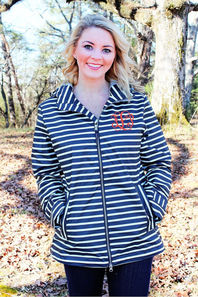 Charles River Women's New Englander Navy Striped Rain Jacket *Customizable! (Wholesale Pricing N/A)