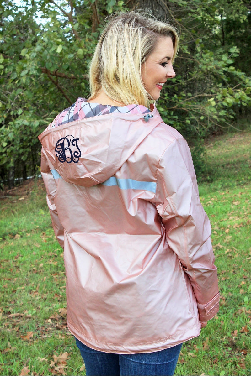Charles River Women's New Englander Rose Gold with Plaid Lining Rain Jacket *Customizable!