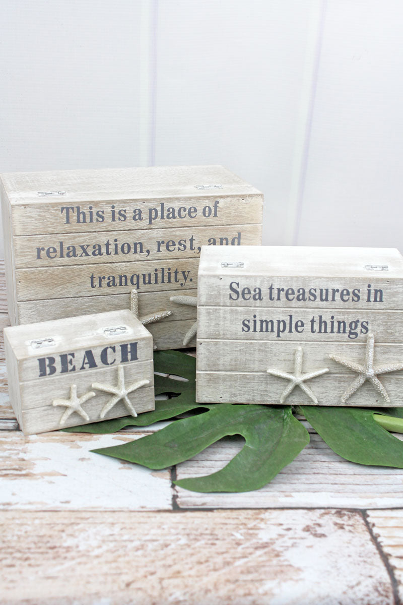 3 Piece White Washed Wood Beach Treasure Box Set