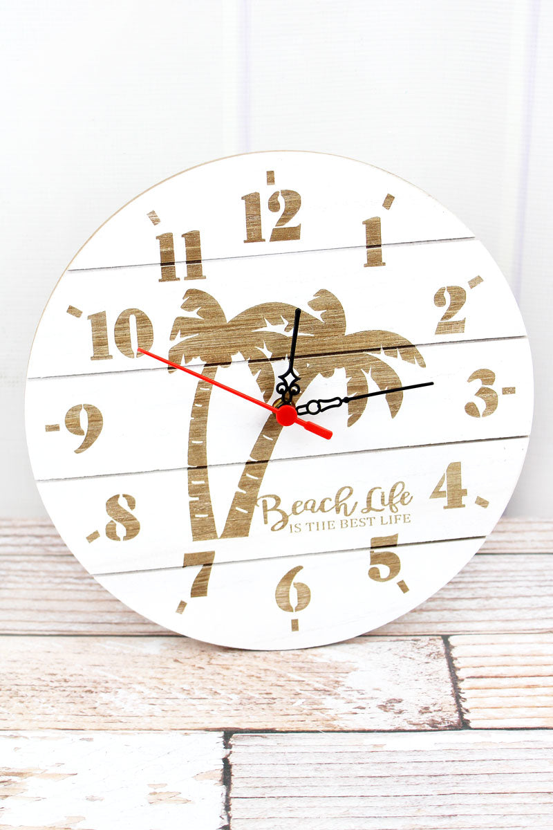 11.75 x 11.75 'Beach Life' Palm Tree Wood Wall Clock