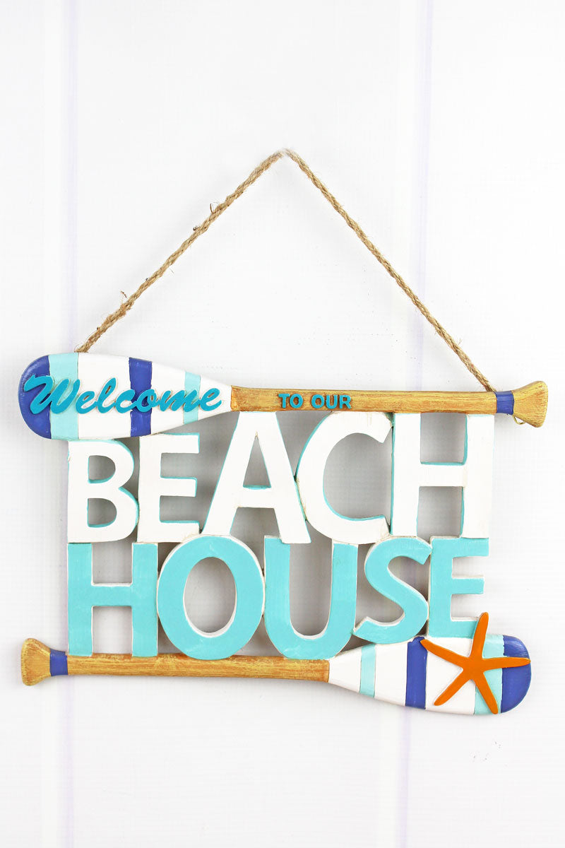 8.25 x 11.5 'Welcome To Our Beach House' Cut-Out Wood Sign