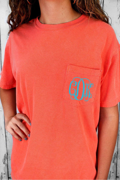 Shades of Red/Orange Comfort Colors Adult Ring-Spun Cotton Pocket Tee #6030 *Personalize It