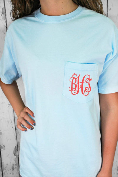 Shades of Blue Comfort Colors Adult Ring-Spun Cotton Pocket Tee #6030 *Personalize It