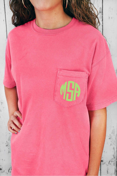 Shades of Pink/Purple Comfort Colors Adult Ring-Spun Cotton Pocket Tee #6030 *Personalize It