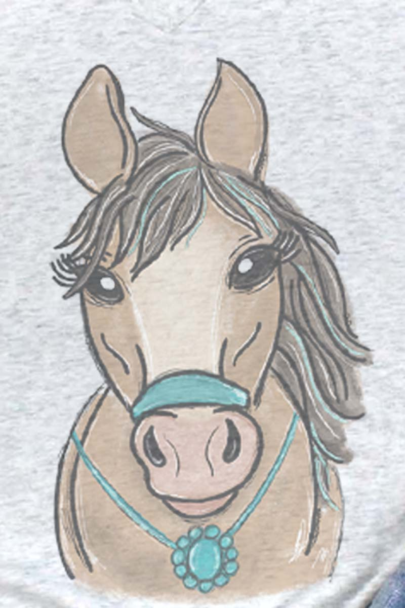 Fancy Turquoise Horse Tri-Blend V Neck Tee