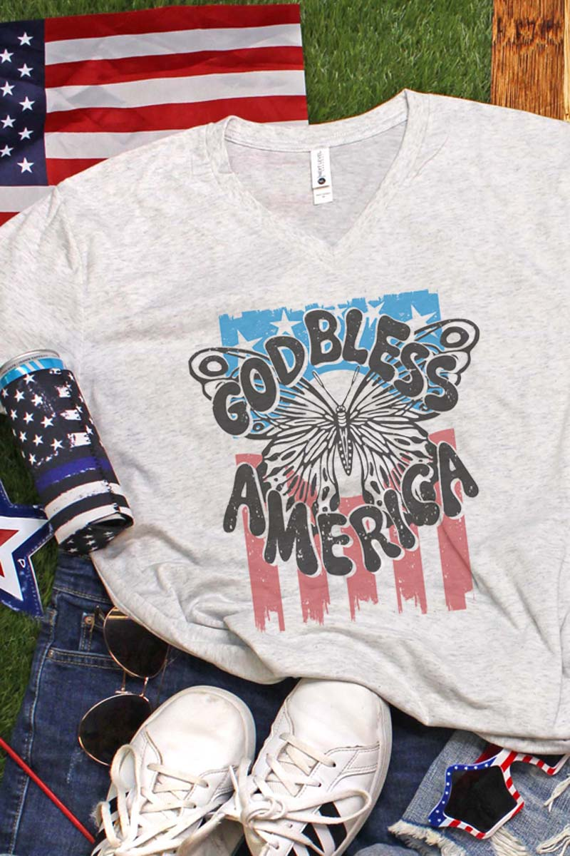God Bless America Butterfly Tri-Blend V Neck Tee