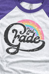 Second Grade Teacher Rainbow Tri-Blend Unisex 3/4 Raglan
