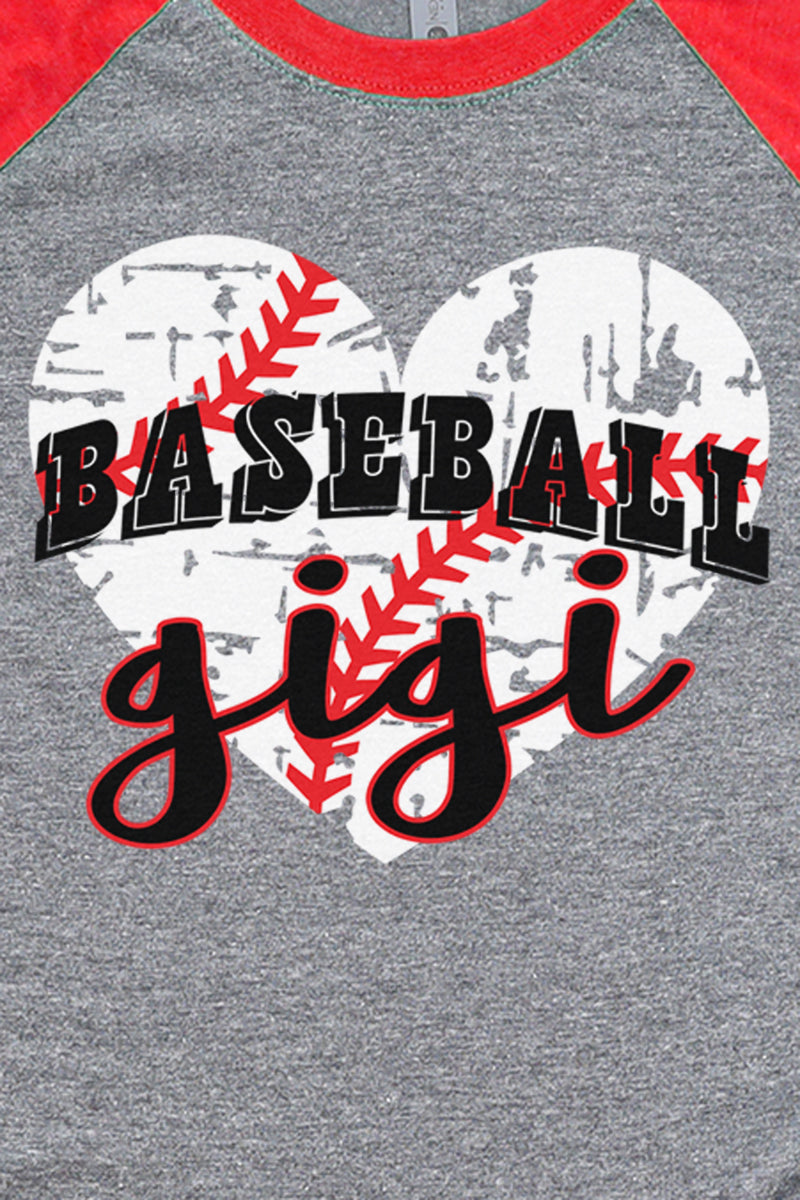Distressed Heart Baseball Gigi Tri-Blend Unisex 3/4 Raglan