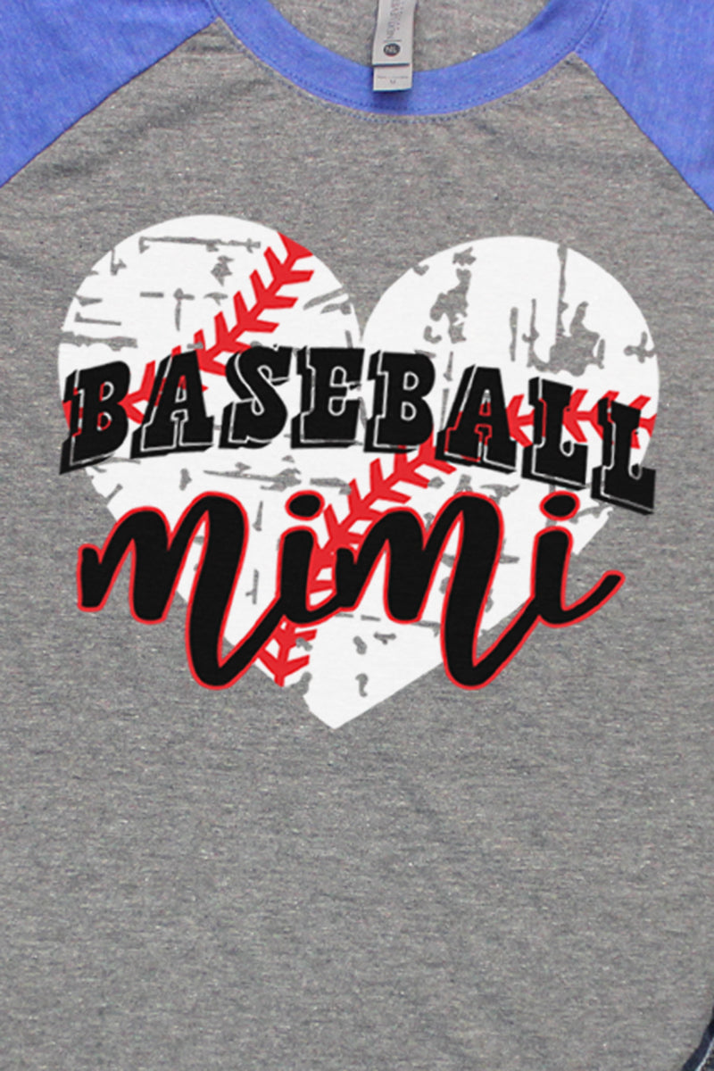 Distressed Heart Baseball Mimi Tri-Blend Unisex 3/4 Raglan