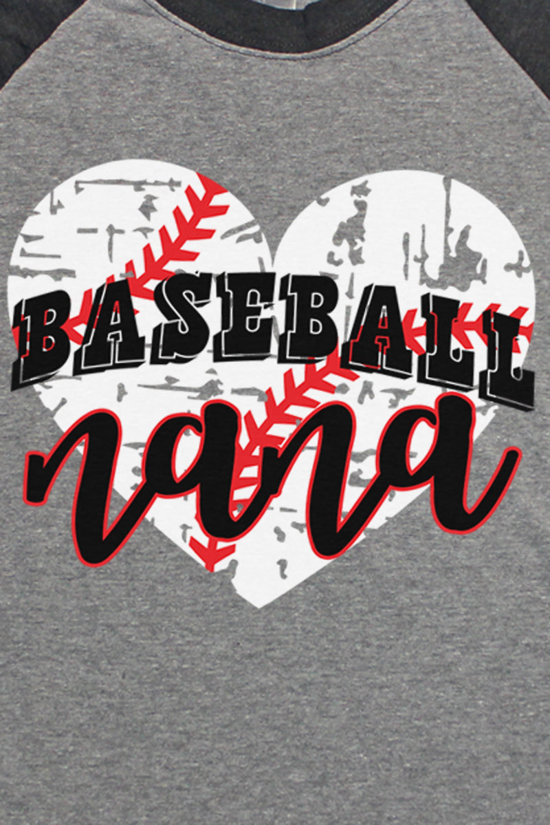 Distressed Heart Baseball Nana Tri-Blend Unisex 3/4 Raglan