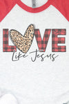 Buffalo Plaid Love Like Jesus Tri-Blend Unisex 3/4 Raglan