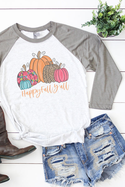 Floral Pumpkin Happy Fall Y'all Tri-Blend Unisex 3/4 Raglan