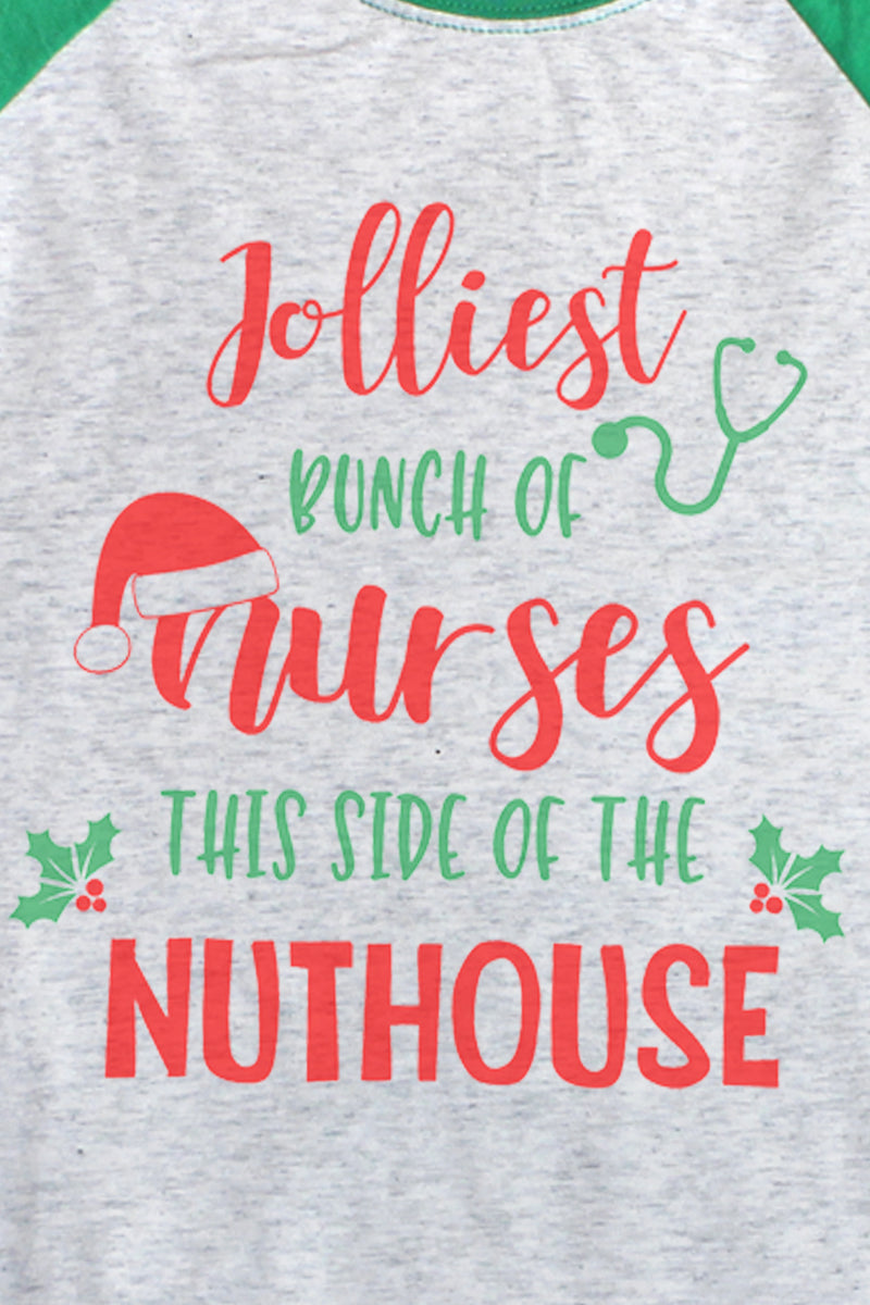 Jolliest Bunch Of Nurses Tri-Blend Unisex 3/4 Raglan