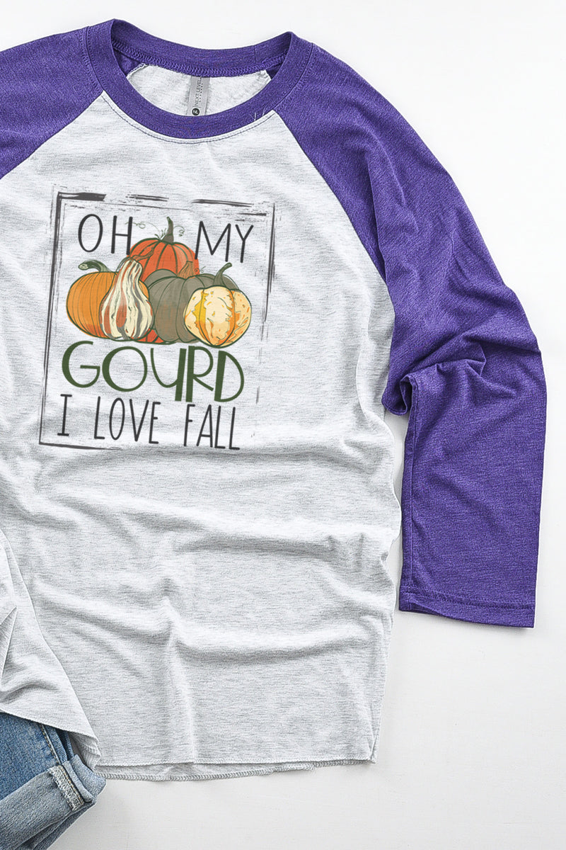 Oh My Gourd I Love Fall Tri-Blend Unisex 3/4 Raglan