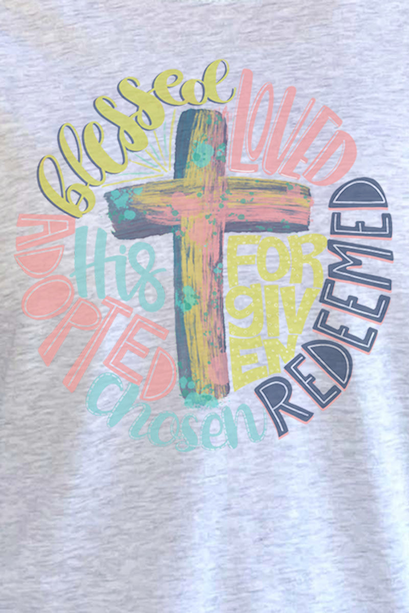 Redeemed Cross Tri-Blend Unisex 3/4 Raglan