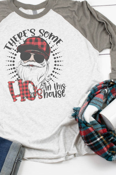 Santa There's Some Ho's In This House Tri-Blend Unisex 3/4 Raglan
