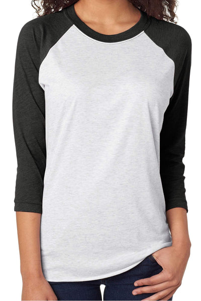 Tri-Blend Unisex 3/4 Raglan, Vintage Black/Heather White #NL6051 *Personalize It!