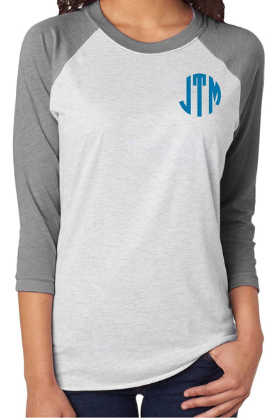 Tri-Blend Unisex 3/4 Raglan, Premium Heather/Heather White #NL6051 *Personalize It!