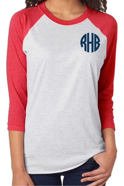 Tri-Blend Unisex 3/4 Raglan, Vintage Red/Heather White #NL6051 *Personalize It!
