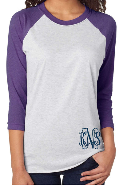 Tri-Blend Unisex 3/4 Raglan, Purple Rush/Heather White #NL6051 *Personalize It!