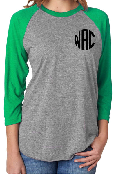 Tri-Blend Unisex 3/4 Raglan, Envy/Premium Heather #NL6051 *Personalize It!