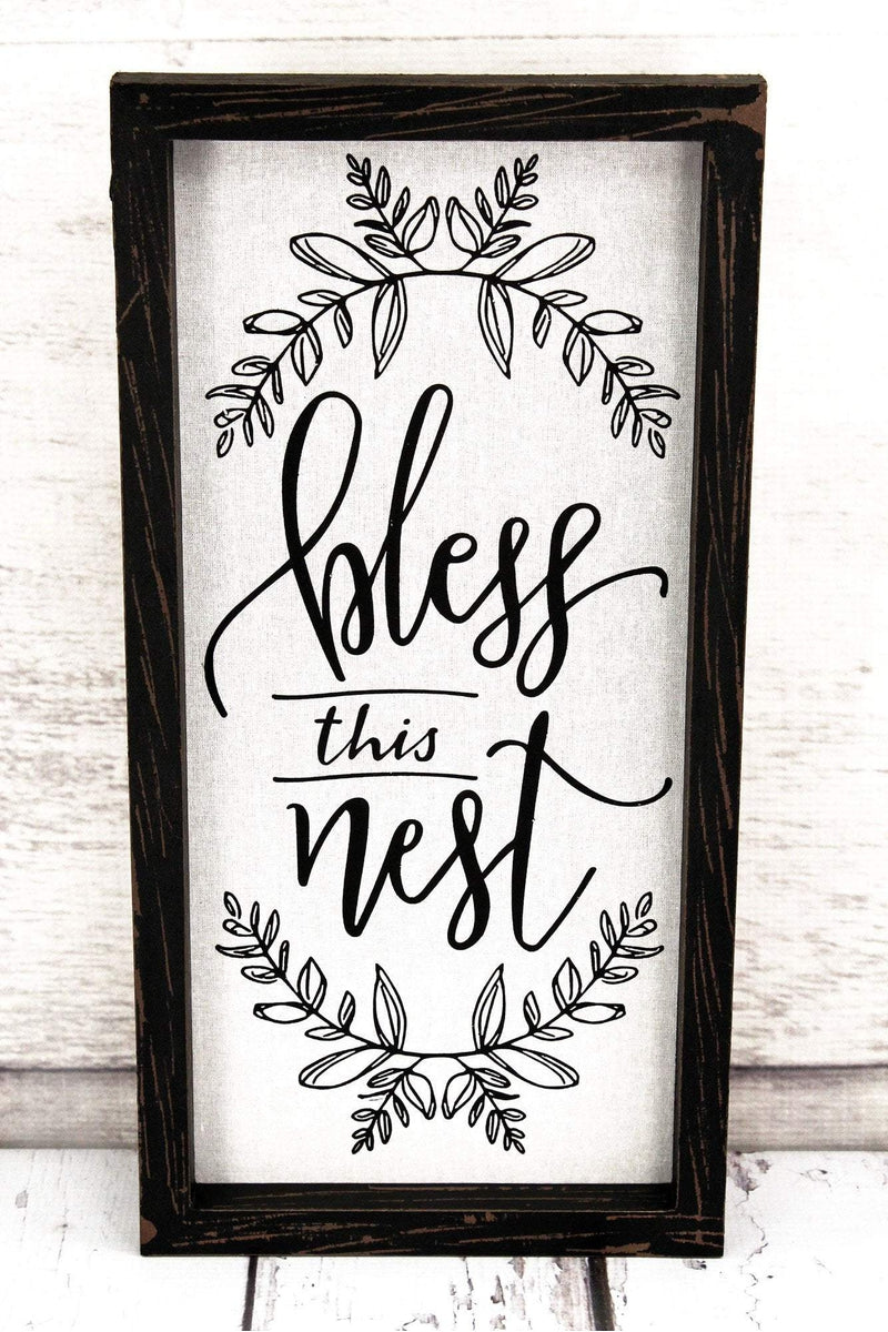 Bless This Nest Framed Linen Sign #60525