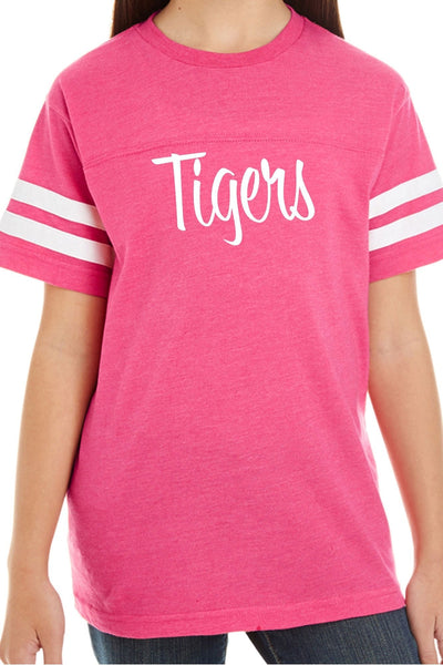 L.A.T. Youth Fine Jersey Varsity Tee, Vintage Pink #6137 *Personalize It ()