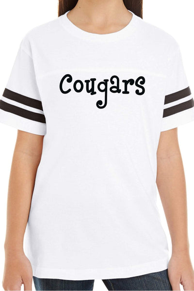 L.A.T. Youth Fine Jersey Varsity Tee, White/Black #6137 *Personalize It ()