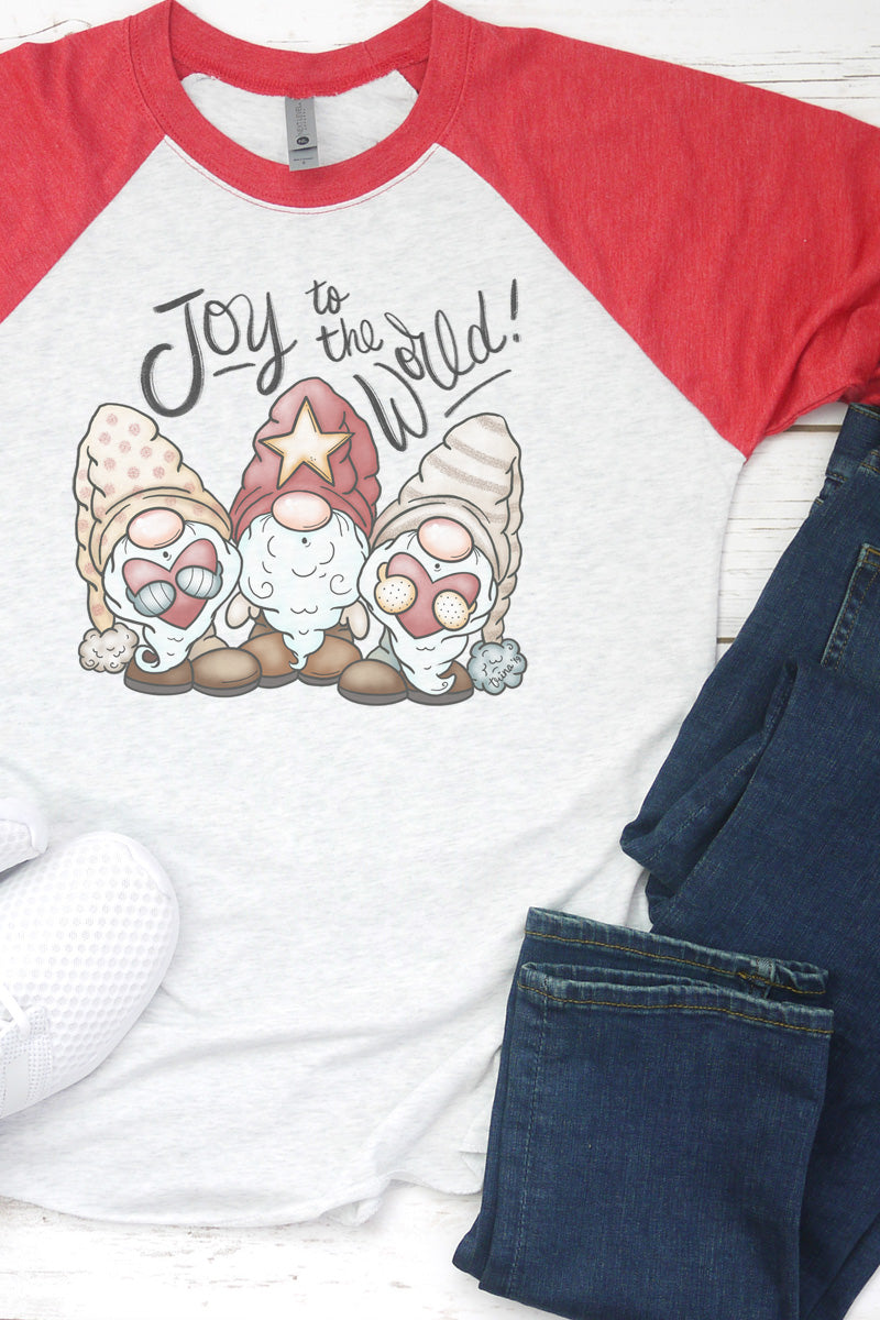 Joy To The World Christmas Gnomes Tri-Blend Unisex 3/4 Raglan