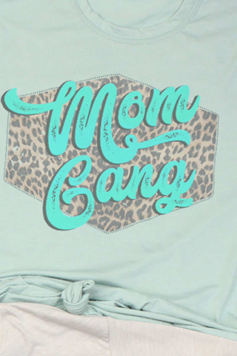 Mint Mom Gang Poly/Cotton Tee