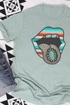 Turquoise Serape Tongue Poly/Cotton Tee