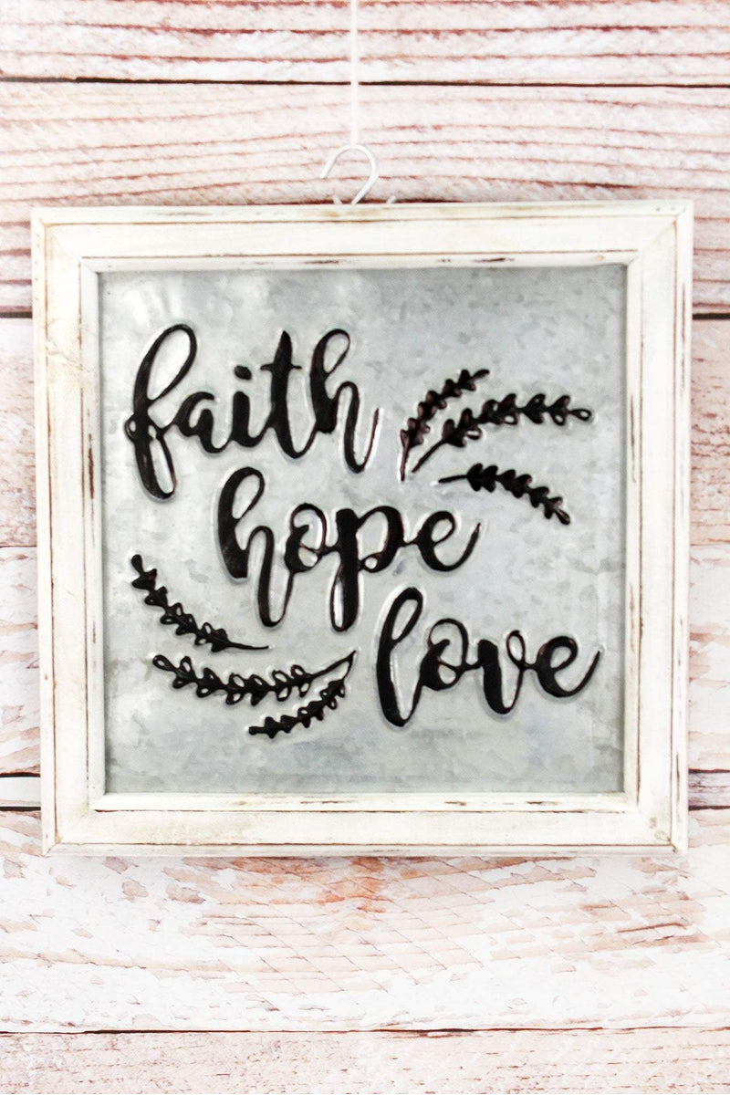 Faith Hope Love Embossed Metal and Wood Framed Sign