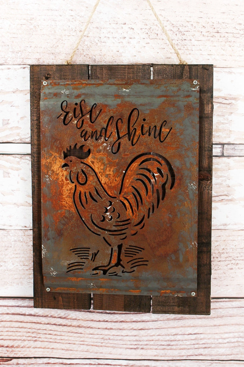 Rise and Shine Acid Wash Metal and Wood Sign