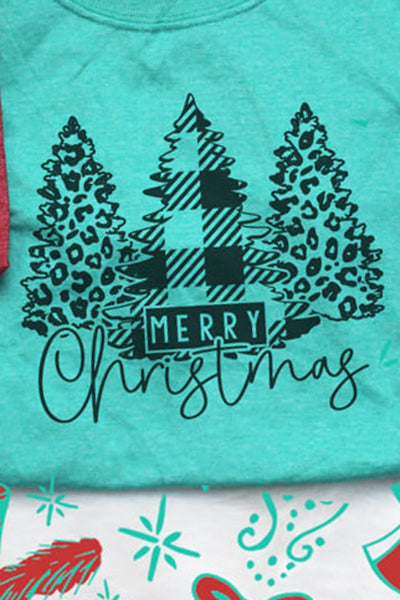 Black Merry Christmas Leopard Trees Softstyle Adult T-Shirt