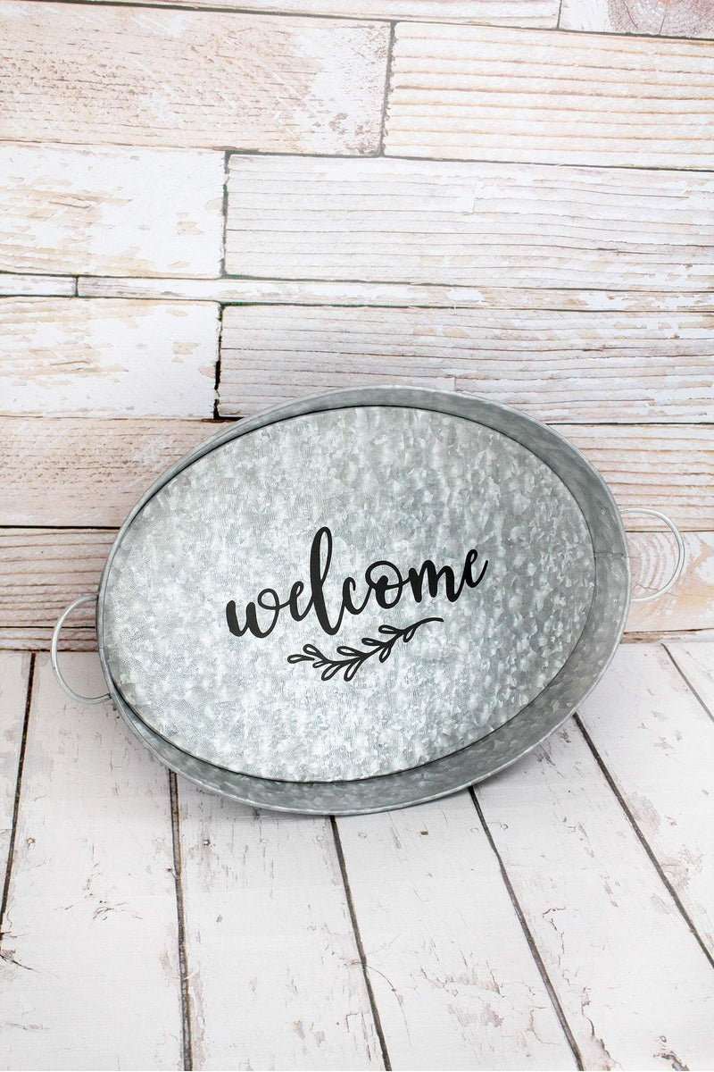 Welcome Galvanized Metal Oval Serving Tray, 18""