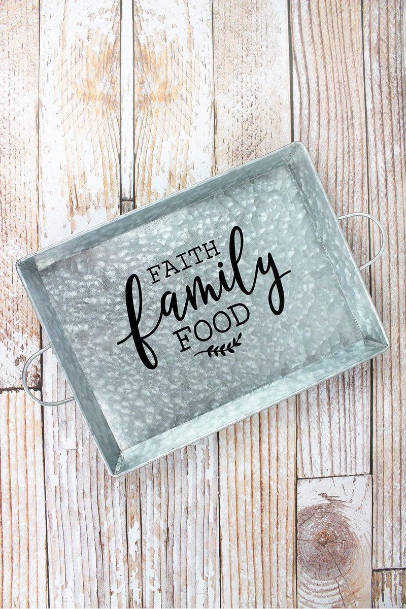 Faith Family Food Galvanized Metal Serving Tray