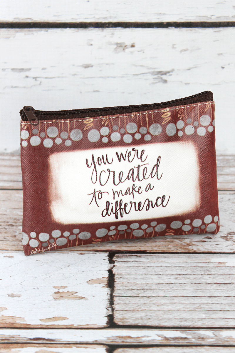 Created To Make A Difference Zippered Coin Purse